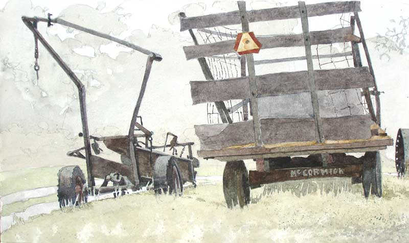 Bale Loader And Hay Wagon by Eddie Flotte