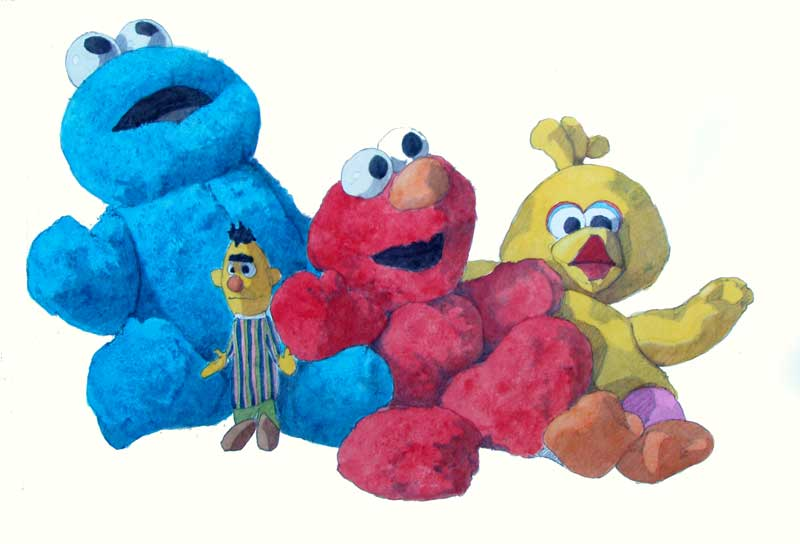 Cookie, Elmo, and Big Bird by Eddie Flotte
