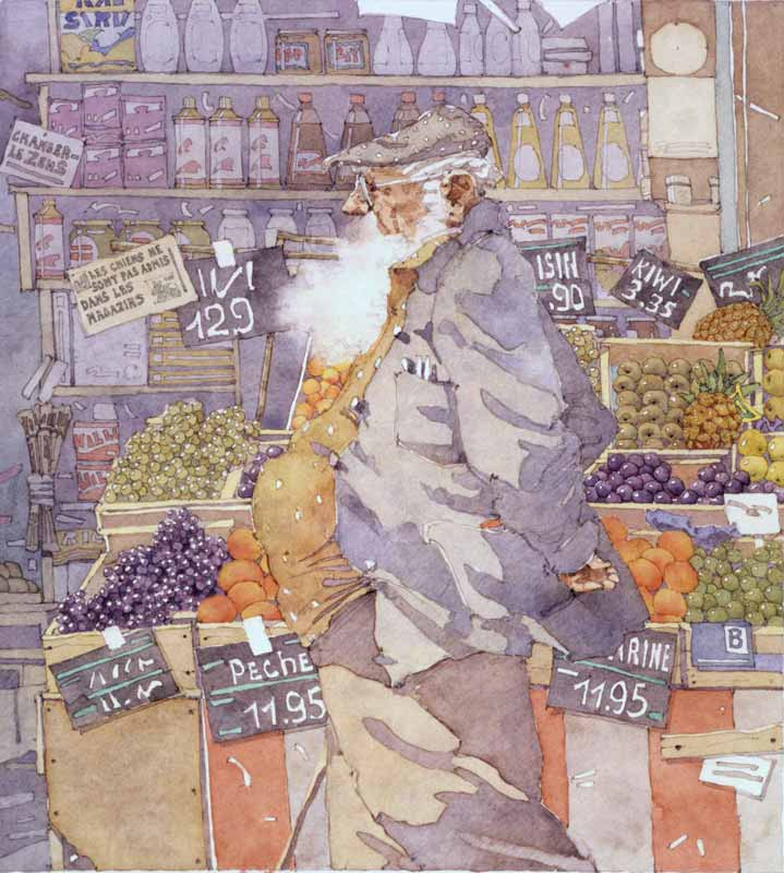 Paris Man at the Fruit Stand by Eddie Flotte
