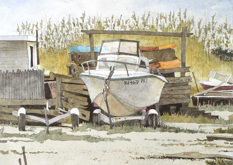 Sea Oats And Forgotten Boats by Eddie Flotte