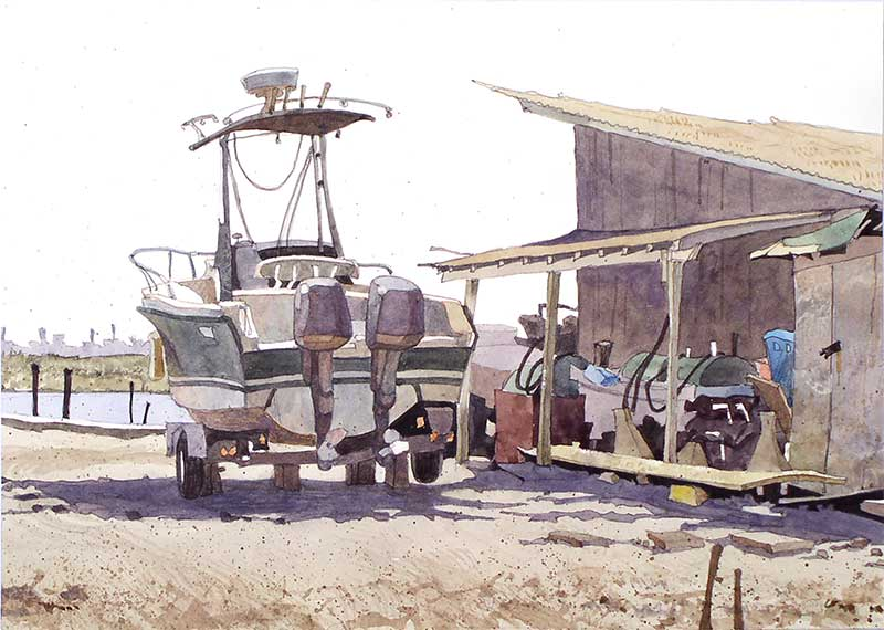 Somers Point Boat Yard by Eddie Flotte