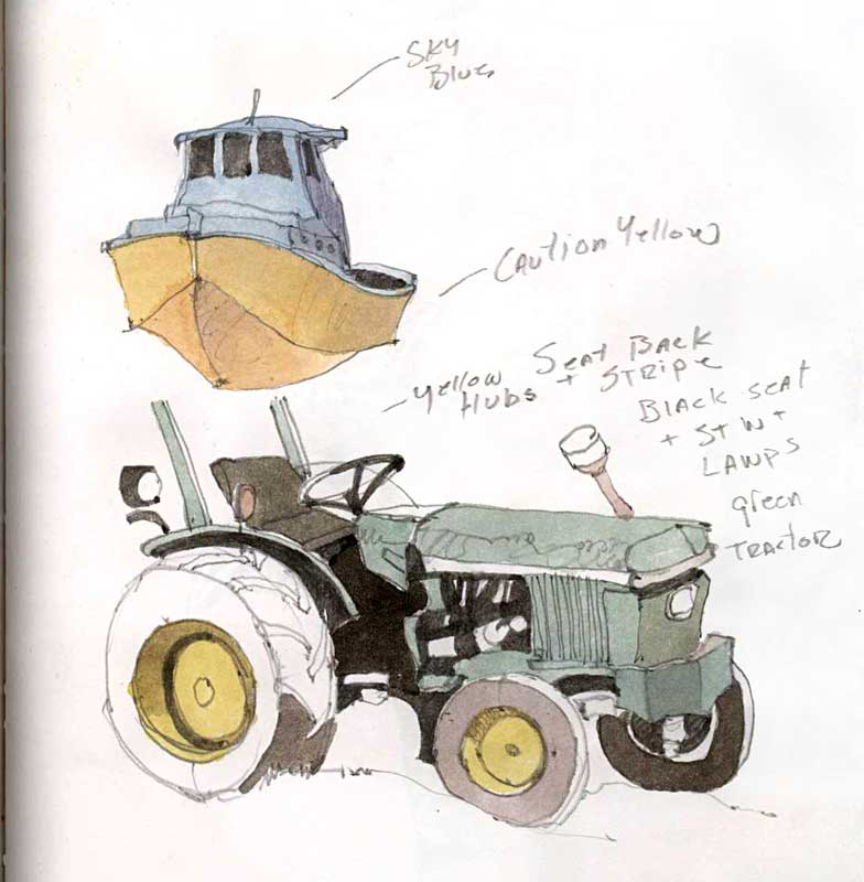 The Boat and Tractor Sketch by Eddie Flotte