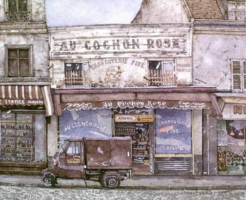 Watercolor Painting by Eddie Flotte: Au Cochon Rose