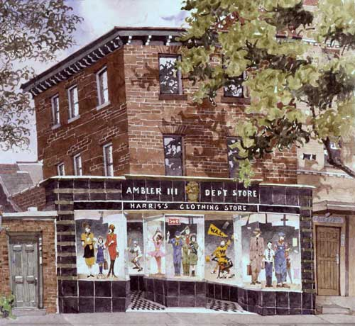 Watercolor Painting by Eddie Flotte: Harris Department Store Ambler