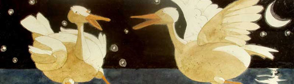 Closeup of Eddie Flotte's Painting: Like Moonlight Off a Duck's Back