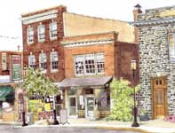 Painting by Eddie Flotte: Ambler Police Station