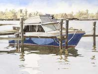 Painting by Eddie Flotte: Blue Boat Off Of Margate