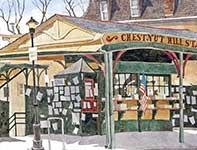 Painting by Eddie Flotte: Chestnut Hill Train Station