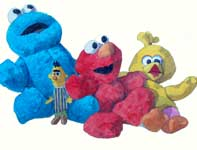 Painting by Eddie Flotte: Cookie, Elmo, and Big Bird