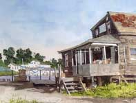 Painting by Eddie Flotte: Crabbing on the Egg Harbor River