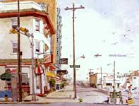 Painting by Eddie Flotte: Eighth and Atlantic