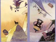 Painting by Eddie Flotte: Flying Machine Dream Sketches