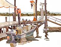 Painting by Eddie Flotte: Fred Clarks Crabbing Boat