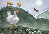Painting by Eddie Flotte: Full Moon Rooster