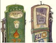 Painting by Eddie Flotte: Gas Pumps