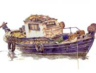 Painting by Eddie Flotte: Greek Boat