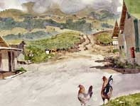 Painting by Eddie Flotte: Haliimaile Chickens