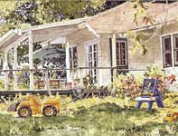Painting by Eddie Flotte: Knox's Yard