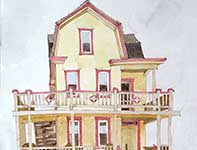 Painting by Eddie Flotte: Little Yellow Bay House