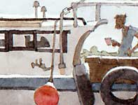 Painting by Eddie Flotte: Maalaea Boat With Captain Detail