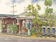 Painting by Eddie Flotte: Makawao Cafe