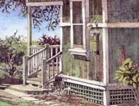 Painting by Eddie Flotte: Makawao Cane House