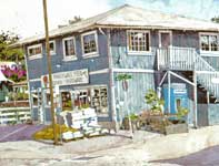 Painting by Eddie Flotte: Makawao Feed and Grain