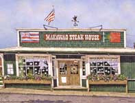 Painting by Eddie Flotte: Makawao Steak House