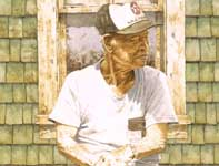 Painting by Eddie Flotte: Man on a Crate