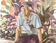 Painting by Eddie Flotte: Man on the Wall