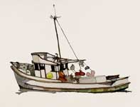 Painting by Eddie Flotte: Monterey Fishing Boat