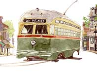 Painting by Eddie Flotte: Mt. Airy Trolly