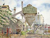 Painting by Eddie Flotte: Paia Mill with Shower Tree