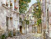 Painting by Eddie Flotte: Paris Alley