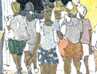 Painting by Eddie Flotte: People in Lahaina Detail