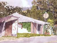 Painting by Eddie Flotte: Pink Porch and Green Shingles