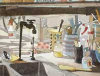 Painting by Eddie Flotte: Pottery Room Sink