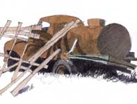 Painting by Eddie Flotte: Rusted Water Truck