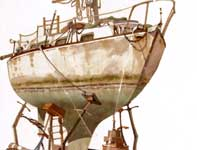 Painting by Eddie Flotte: Sail Boat In Dry Dock