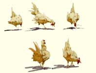 Painting by Eddie Flotte: Sketches of Chickens