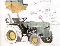 Painting by Eddie Flotte: The Boat and Tractor Sketch