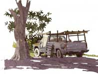 Painting by Eddie Flotte: The Caretaker's Truck