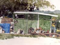 Painting by Eddie Flotte: The Neighbor's Shed