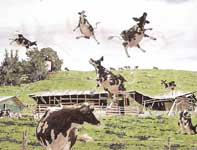 Painting by Eddie Flotte: The Strange and Sudden Disappearance of the Haleakala Dairy Cow
