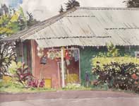 Painting by Eddie Flotte: Tin Roof and Macrame
