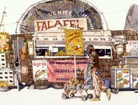 Painting by Eddie Flotte: Venice Beach Falafel Stand