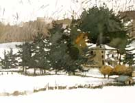 Painting by Eddie Flotte: Winter At Kuerner's